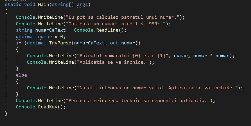exemplu de cod sursa - invatam programare